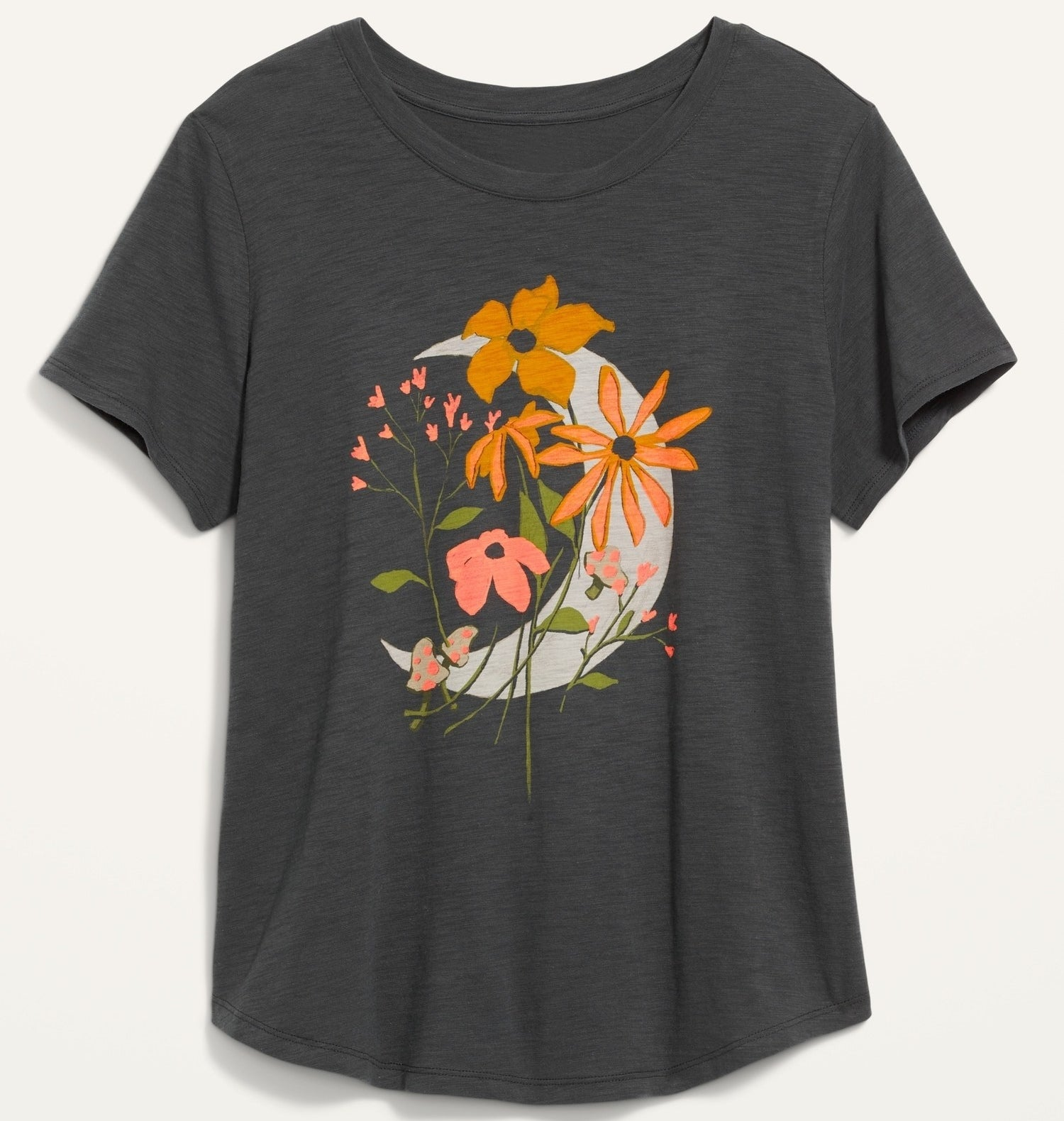 a t-shirt with a moon and flowers on it