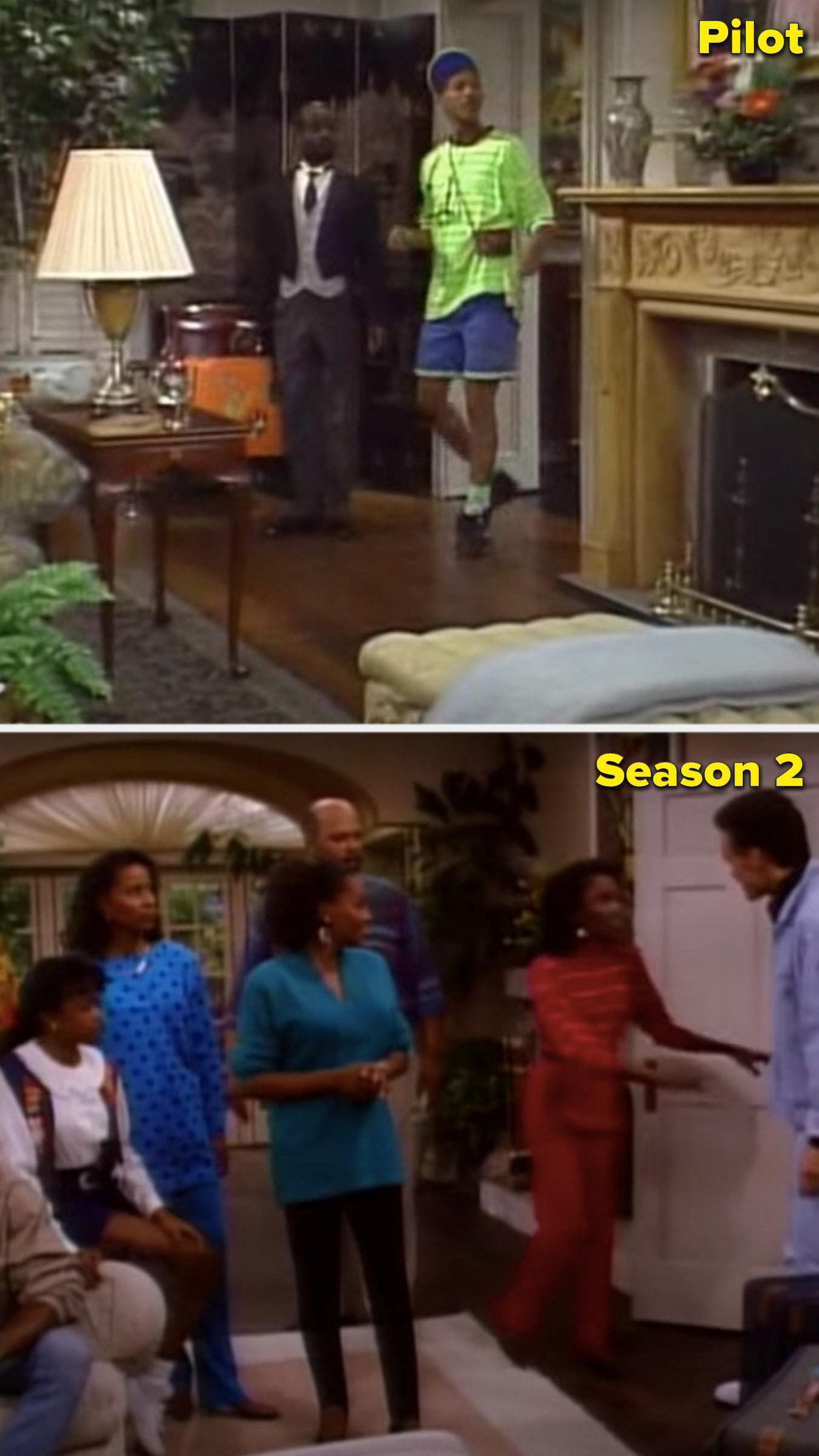 The Fresh Prince house in the pilot and the completely different Fresh Prince house in Season 2