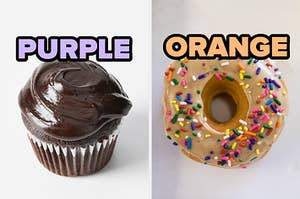 """On the left, a chocolate cupcake with chocolate frosting labeled """"purple,"""" and on the right, a donut with frosting and sprinkles labeled """"orange"""""""