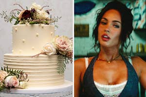 a white wedding cake covered in flowers on the left and megan fox on the right