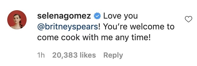 Selena writes, Love you Britney! You're welcome to come cook with me any time!