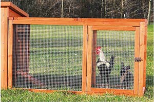 The run attached to a coop holding two chickens