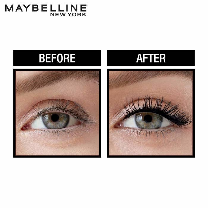 Before and after image of usage of Maybelline Hypercurl Mascara. In the after image, the person has dark curly lashes.
