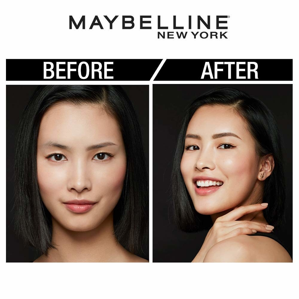 Before and after picture of usage of the brow pencil. In the after image, the person has fuller and darker brows.