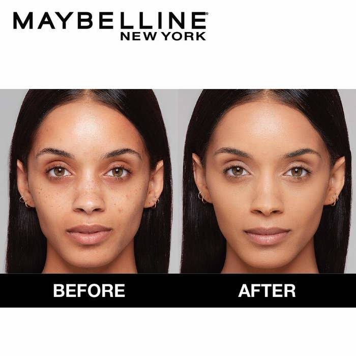 Before and after image of usage of Maybelline matte foundation. In the after image, person has a full-covered face with foundation.