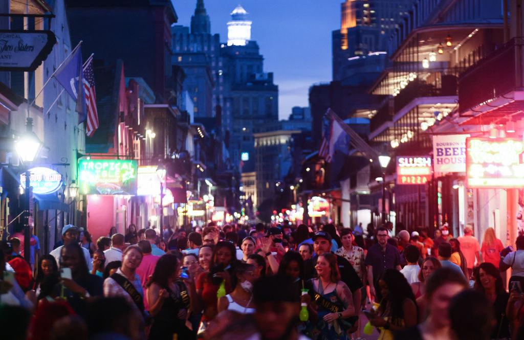 A crowded Bourbon Street