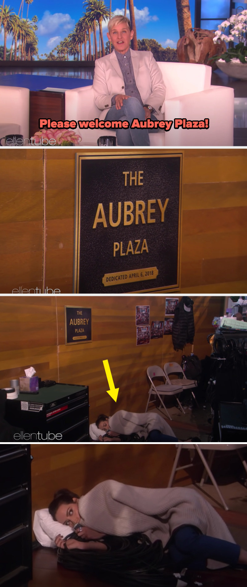"""The """"Aubrey Plaza"""" backstage at Ellen's show, where Aubrey is sleeping on the floor with a pillow and blanket"""
