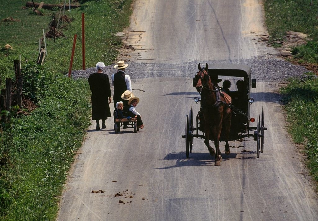 Amish people on the road