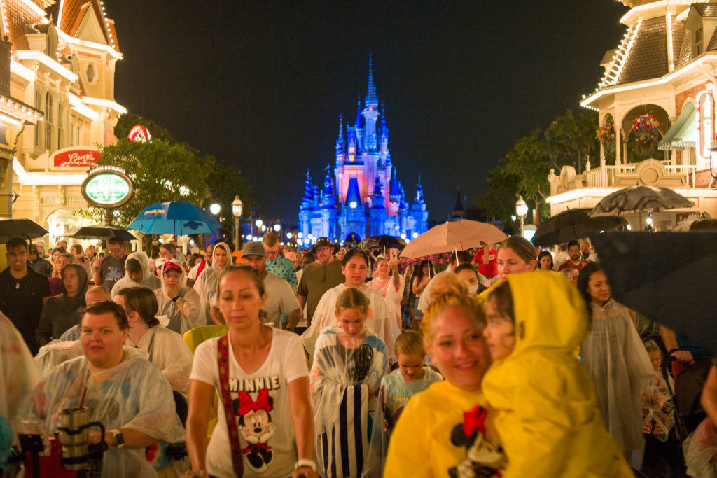 A crowd of people at Disney World