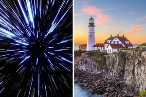 the speed of light on the left and the coast of maine on the right