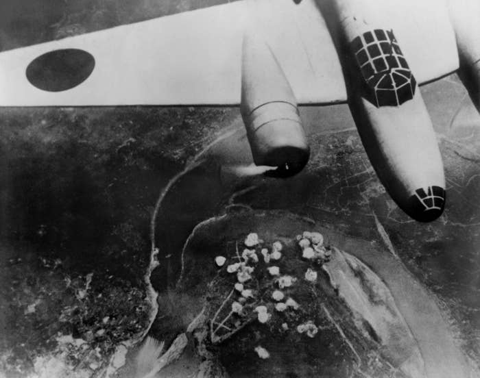 A Japanese plane dropping bombs onto China