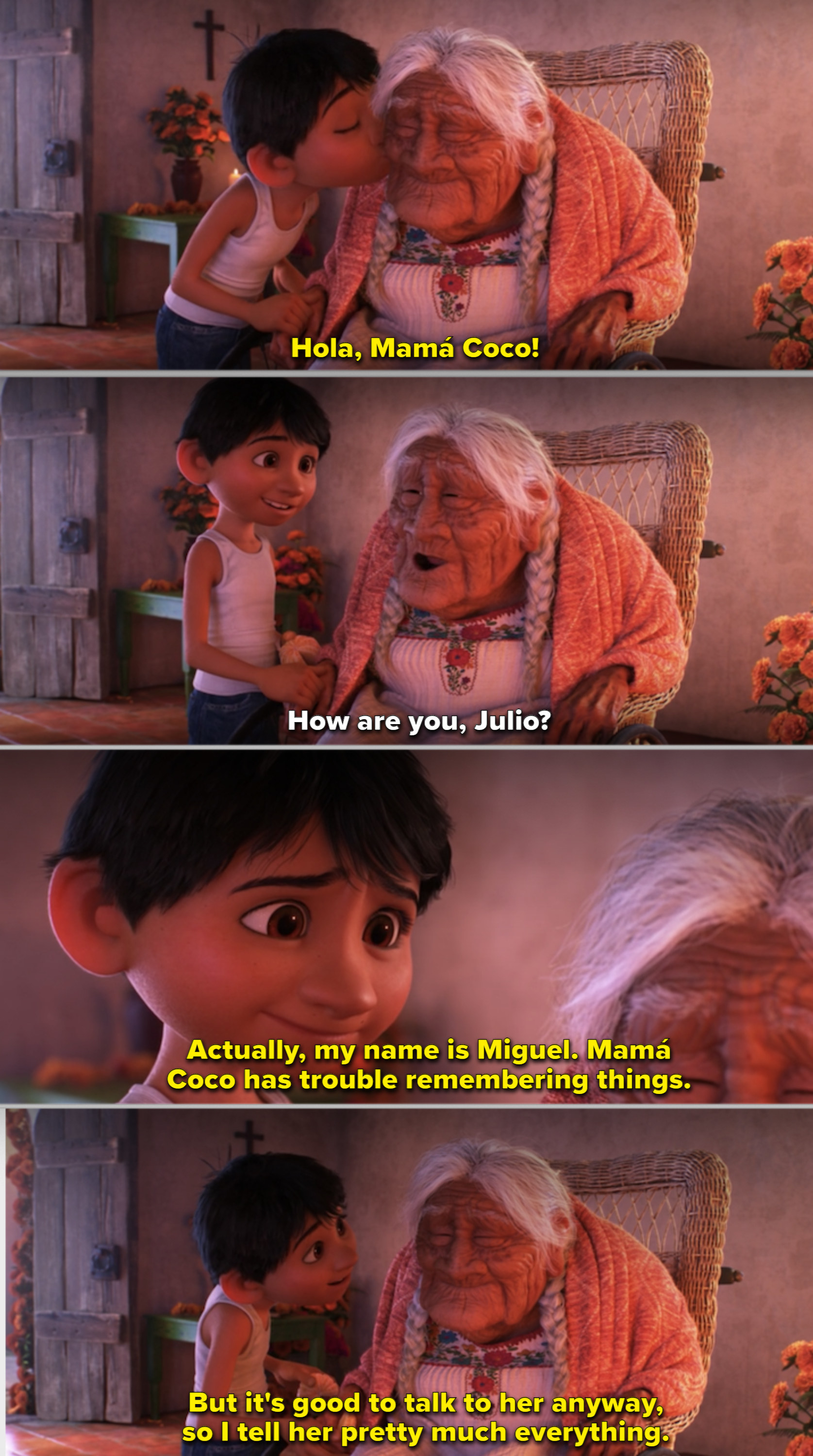 Miguel talking to Mamá Coco