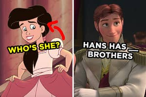On the left, Ariel's daughter from The Little Mermaid 2 with an arrow pointing to her and who's she typed under her face, and on the right, Hans from Frozen labeled Hans has blank brothers