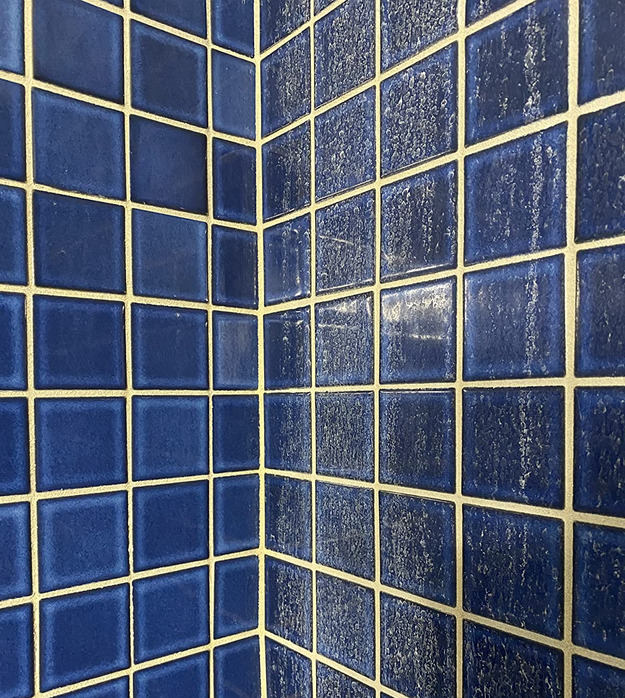 Reviewer before and after photo of their blue bathroom tile with and without hard water stains