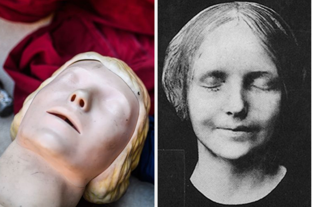 A CPR dummy lying on the ground, the 16 year old girl known as L'Inconnue de la Seine
