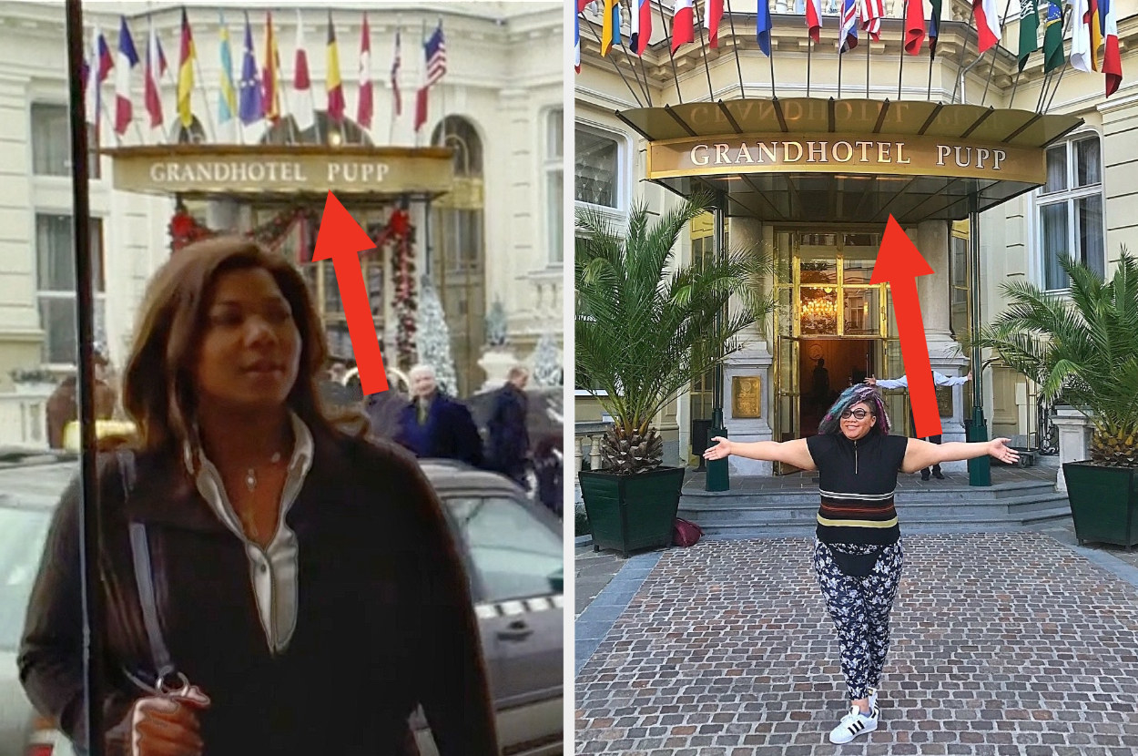 Queen Latifah is on the left walking through a door with a woman and her arms stretched out on the right