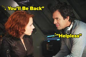 natasha romanoff and bruce banner with you'll be back and helpless written over them