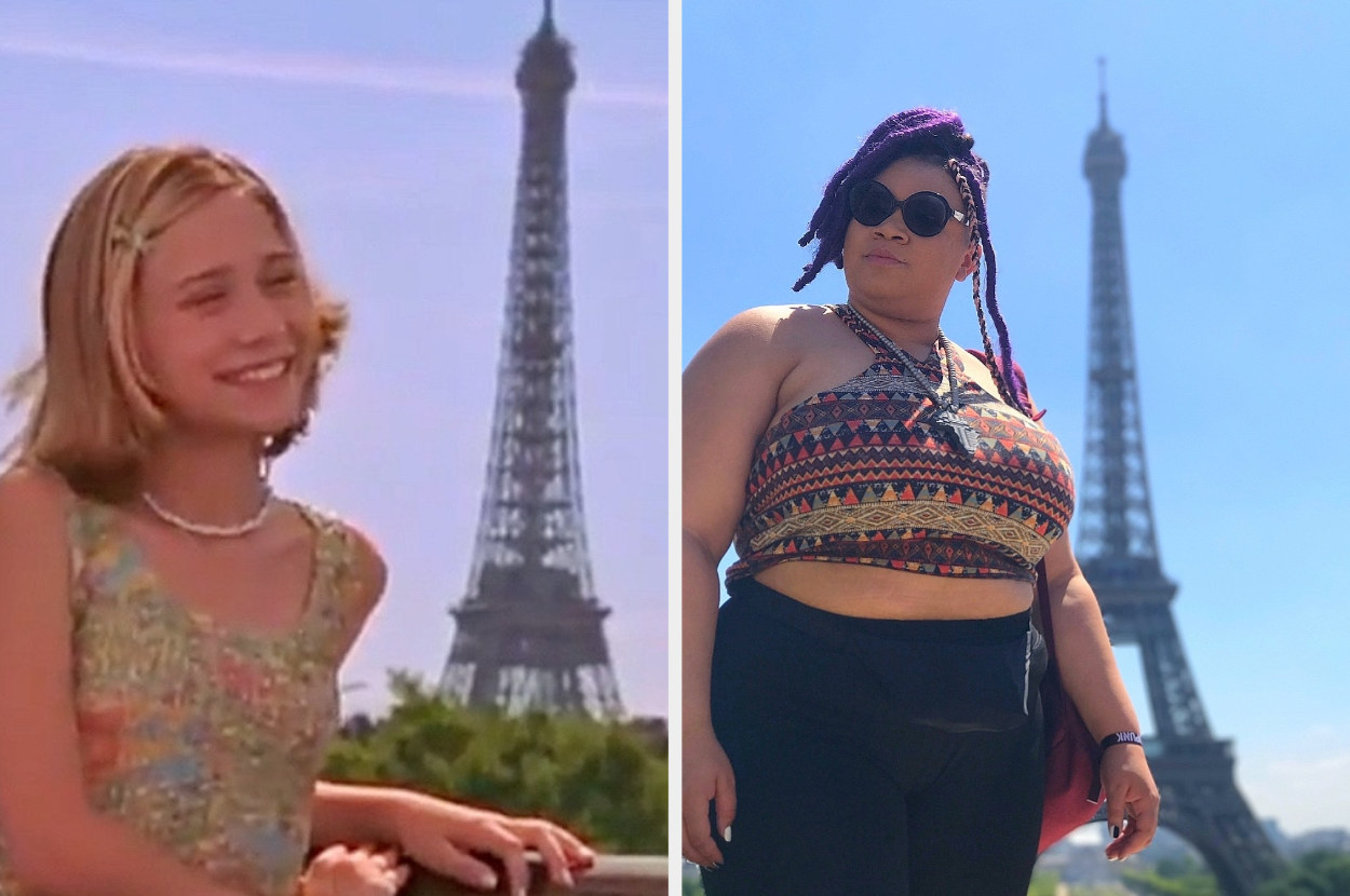 An Olsen twin is on the left posing in front of Eiffel Tower with a woman on the right in the same position