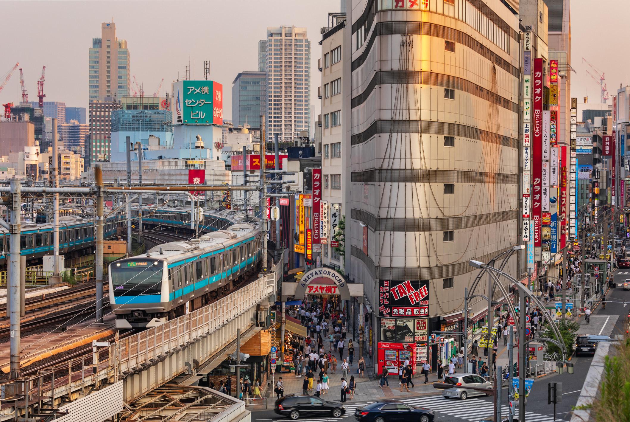 A train passing through a Japanese city.
