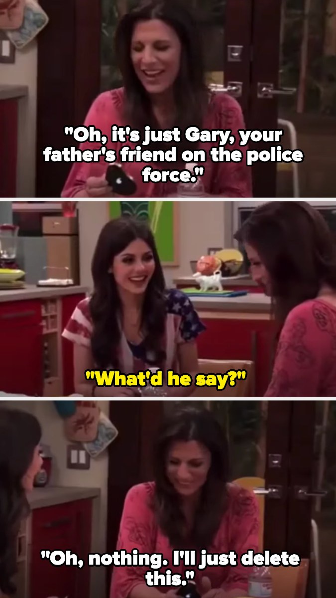 """laughing at a text, Tori's mom says it's just from Gary, Tori's father's friend on the police force — Tori asks what he said, and her mom says """"nothing"""" and that she'll delete it"""