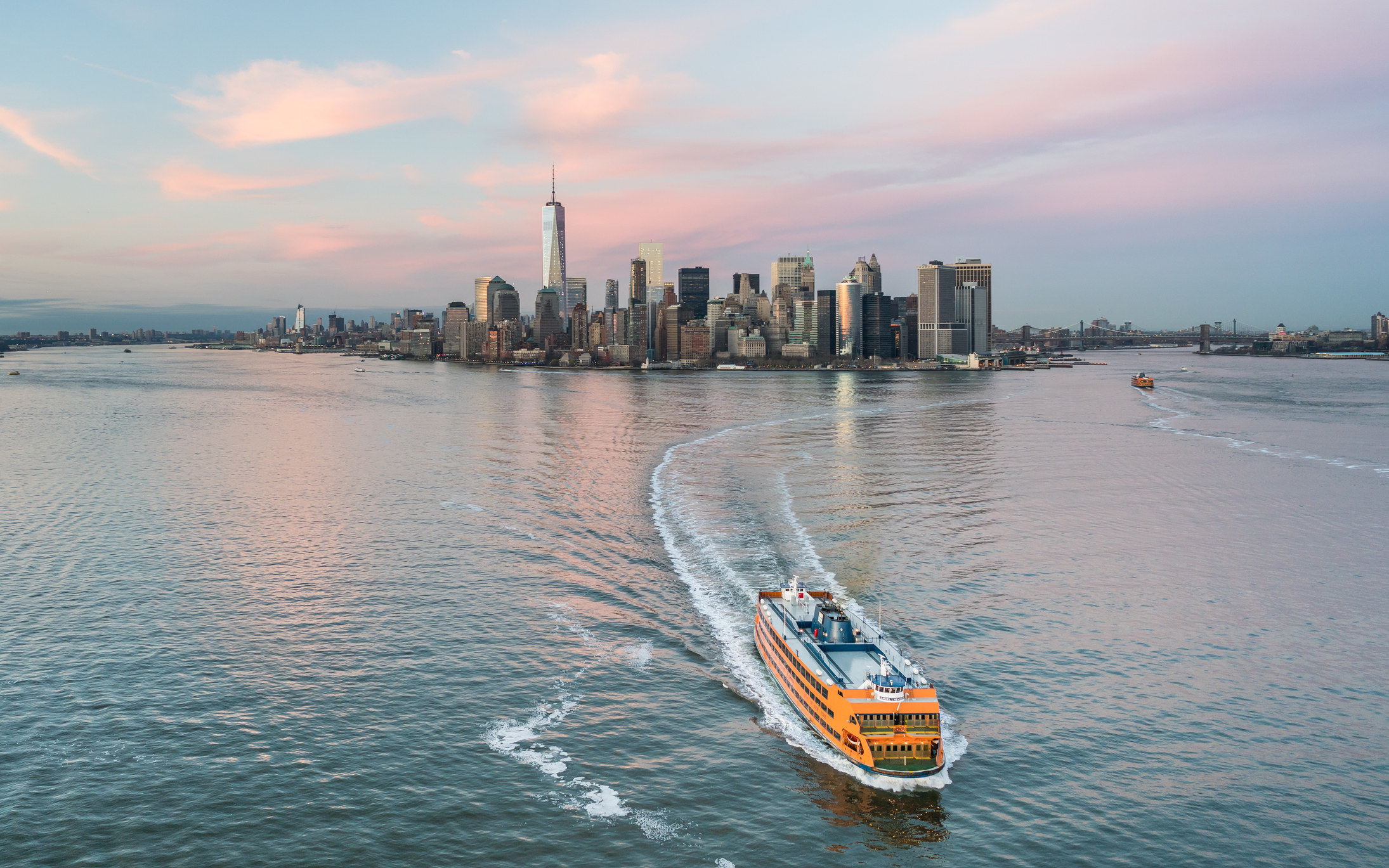 The Staten Island ferry in the Hudson River.