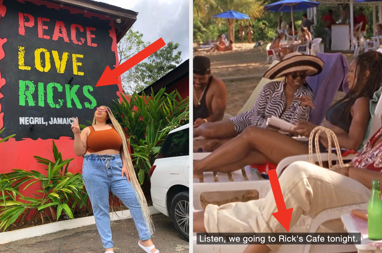 """A woman is standing in front of a restaurant entrance that reads, """"Peace, Love, Rick's"""" with Whoopi and Angela Basset engaging in a convo on the beach"""