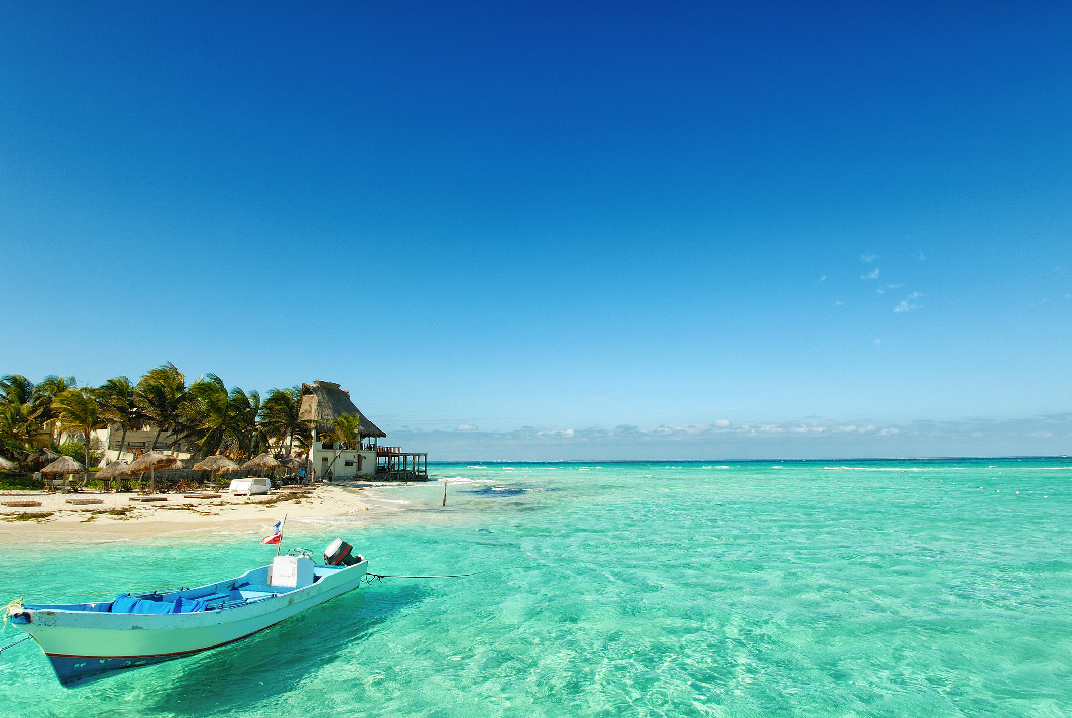 The beach in Isla Mujeres in Mexico.