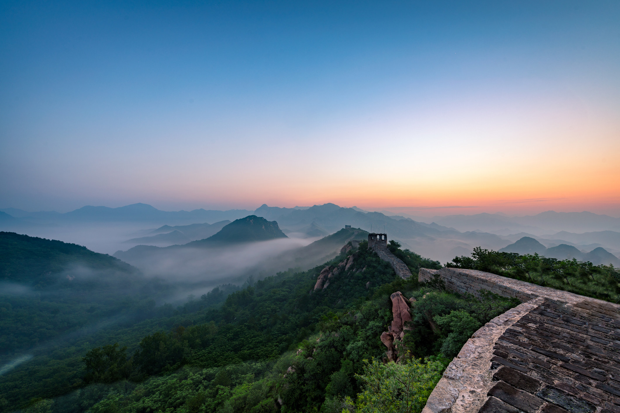 A quiet stretch of the Great Wall of China.
