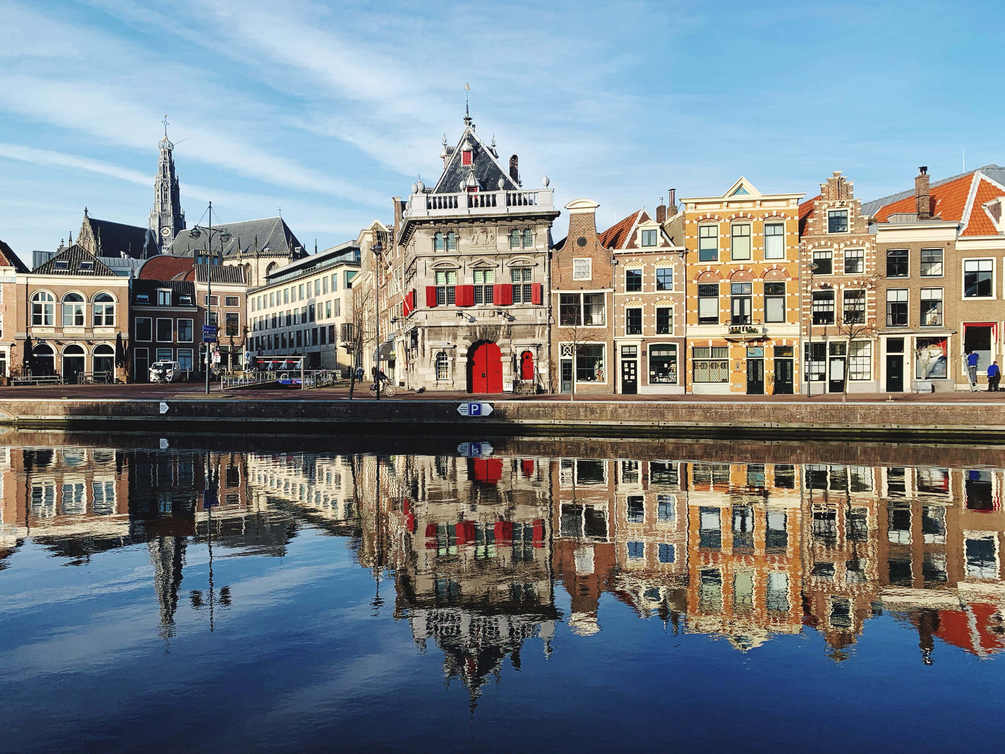 Buildings along the canal in Haarlem, Netherlands