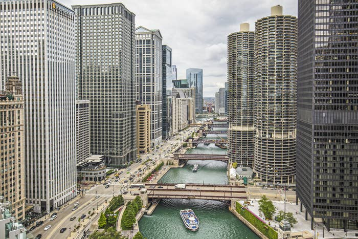 Boats in the Chicago River.