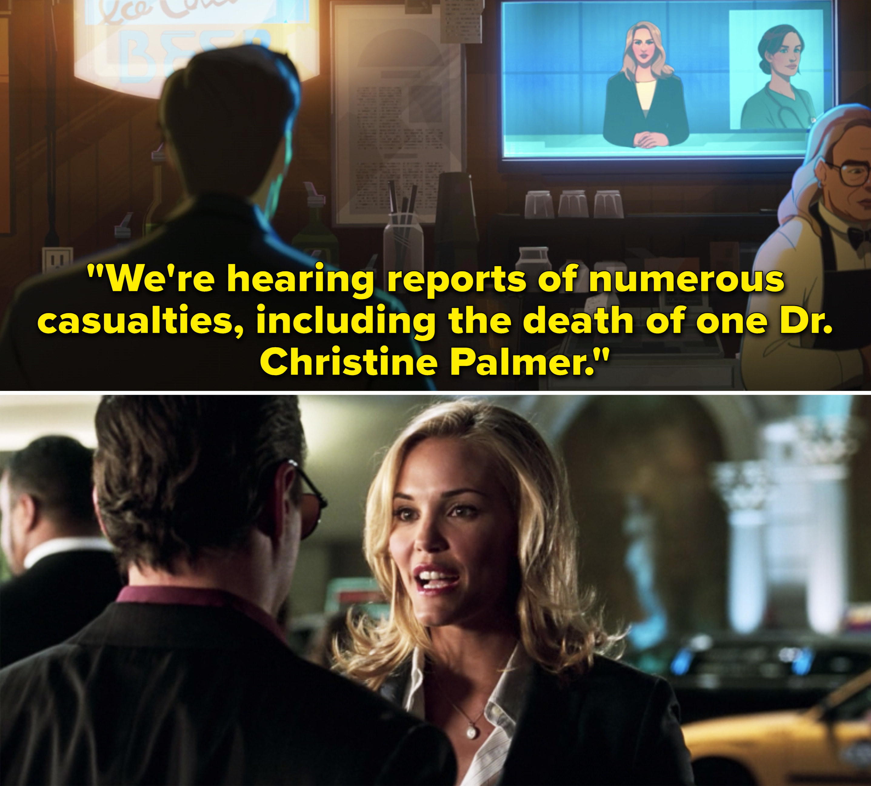 """Christine Everhart reporting, """"We're hearing reports of numerous casualties, including the death of Dr. Christine Palmer"""""""