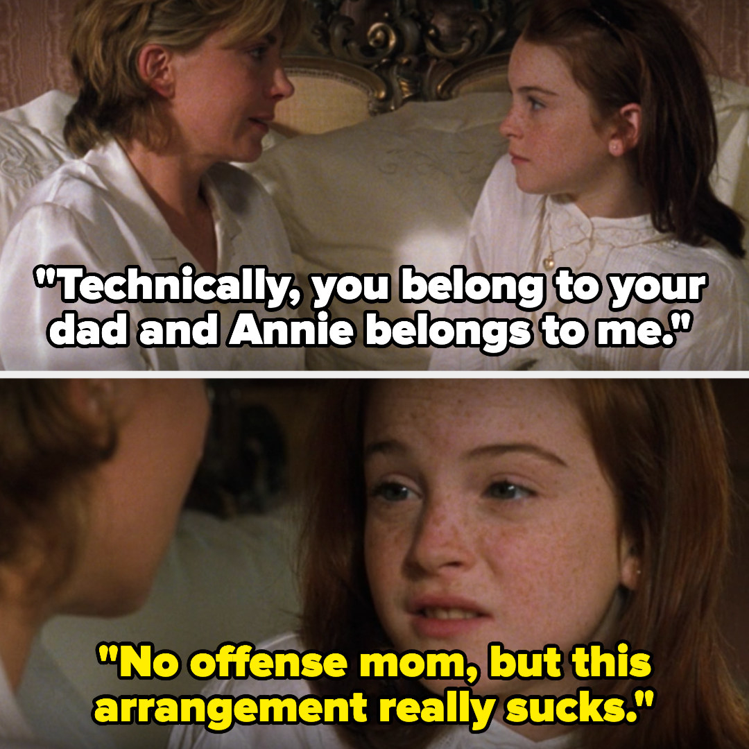 Hallie's mom tells her she belongs to her dad and Annie belongs to her, and Hallie says that arrangement sucks