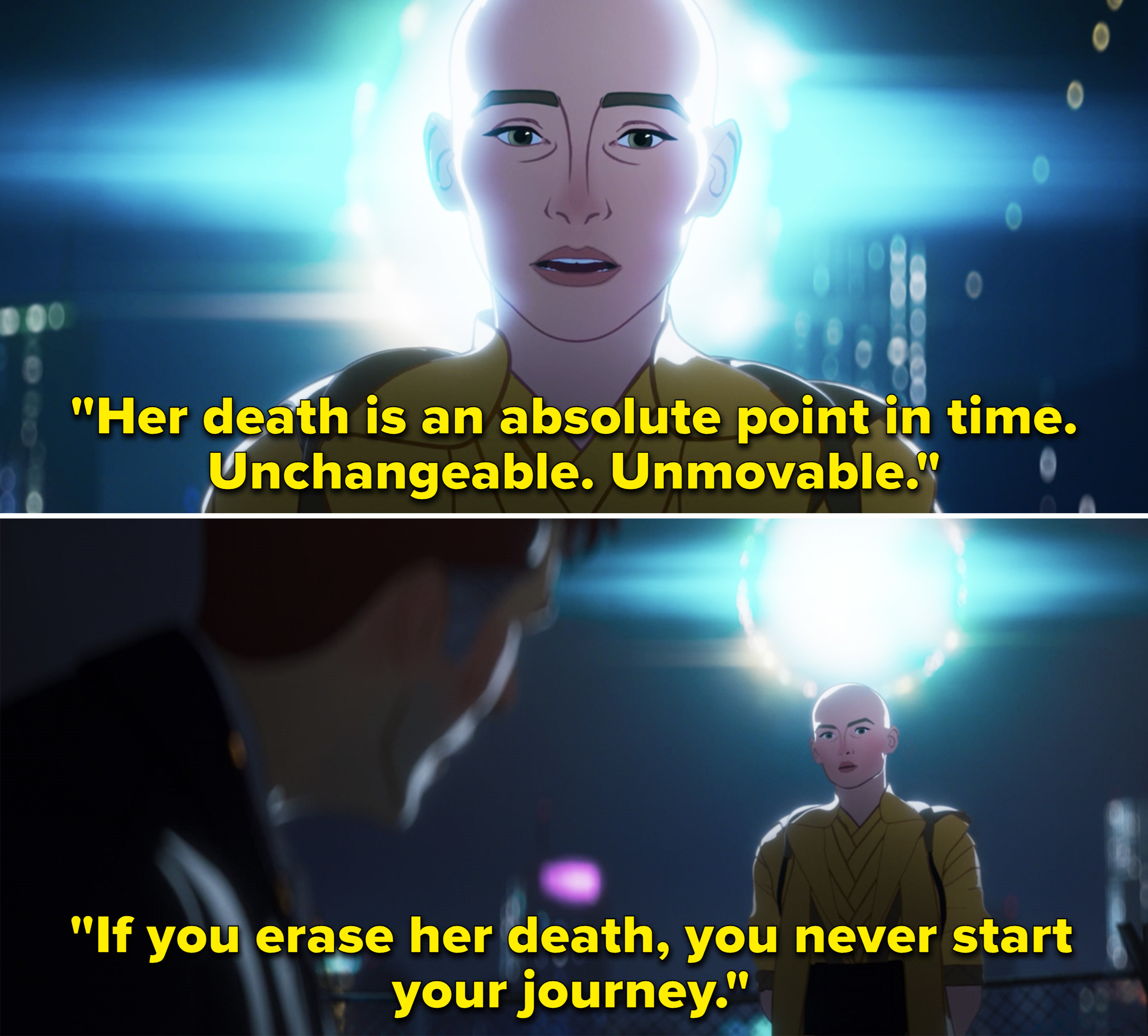 """The Ancient One telling Stephen, """"Her death is an absolute point in time. Unchangeable. Unmoveable"""""""