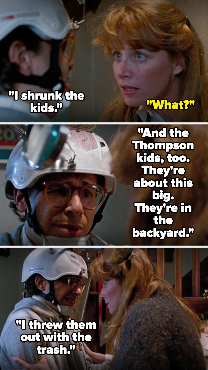Wayne tells Diane he shrunk the kids and the Thompson kids, and they're in the backyard because he threw them out with the trash