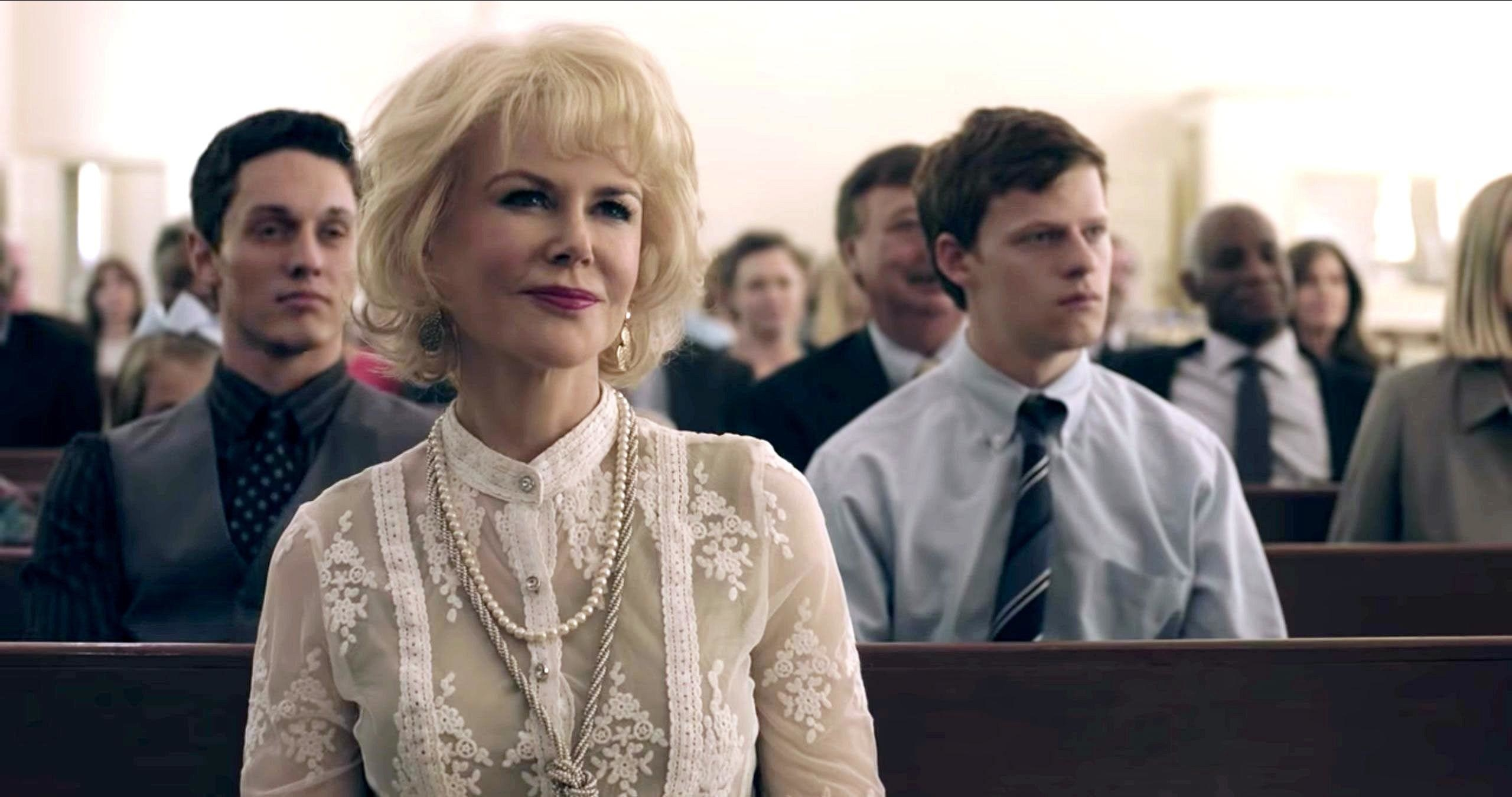 Lucas Hedges as Jared Eamons and Nicole Kidman as his mother at church