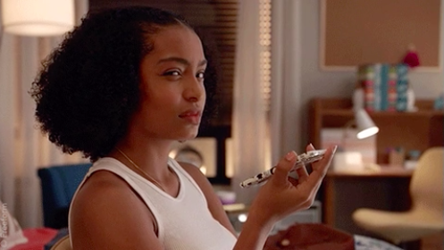 """Zoey Johnson from """"Grownish"""" looking annoyed and perplexed"""