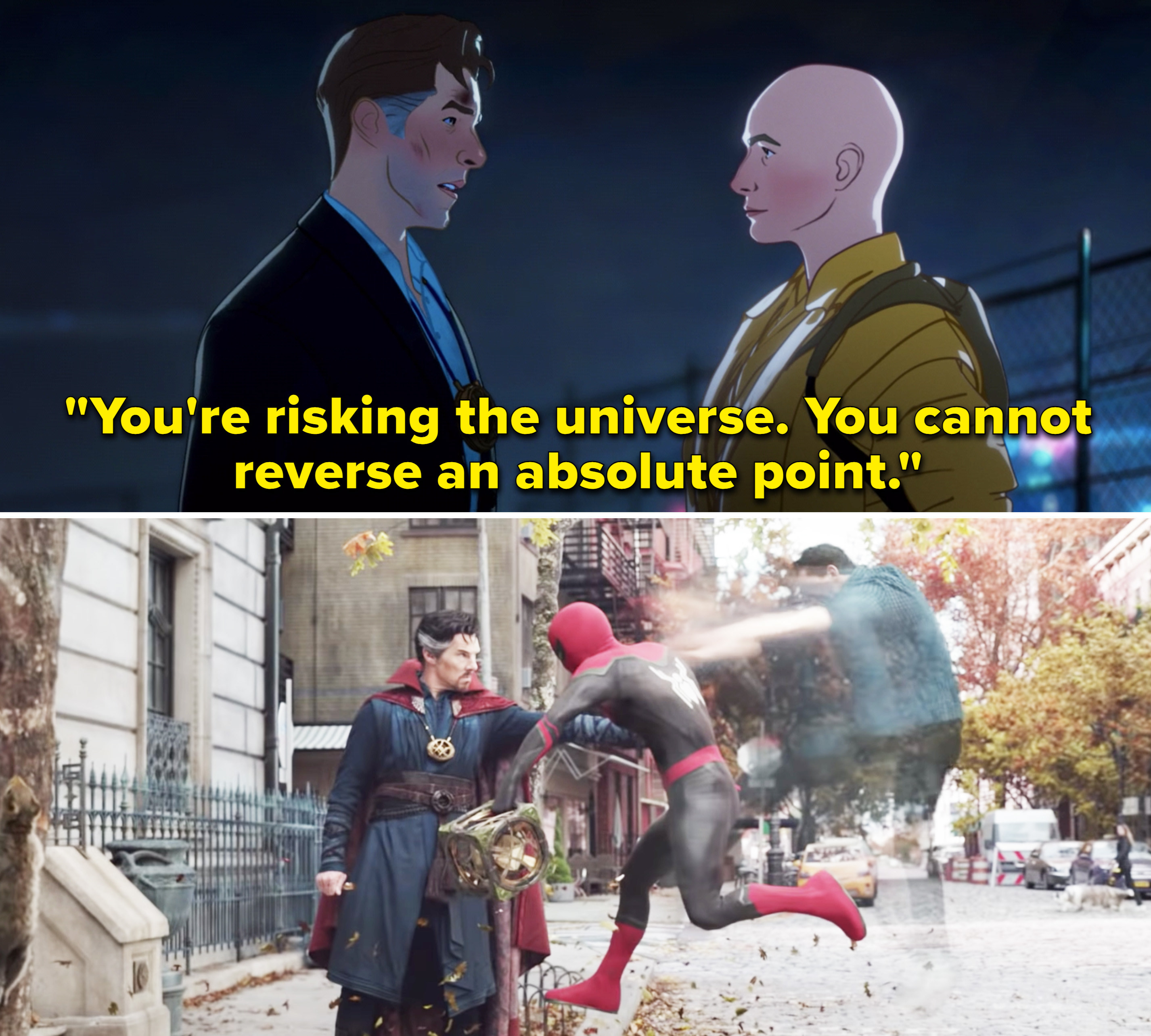 """The Ancient One telling Stephen, """"You're risking the universe. You cannot reverse an absolute point"""""""