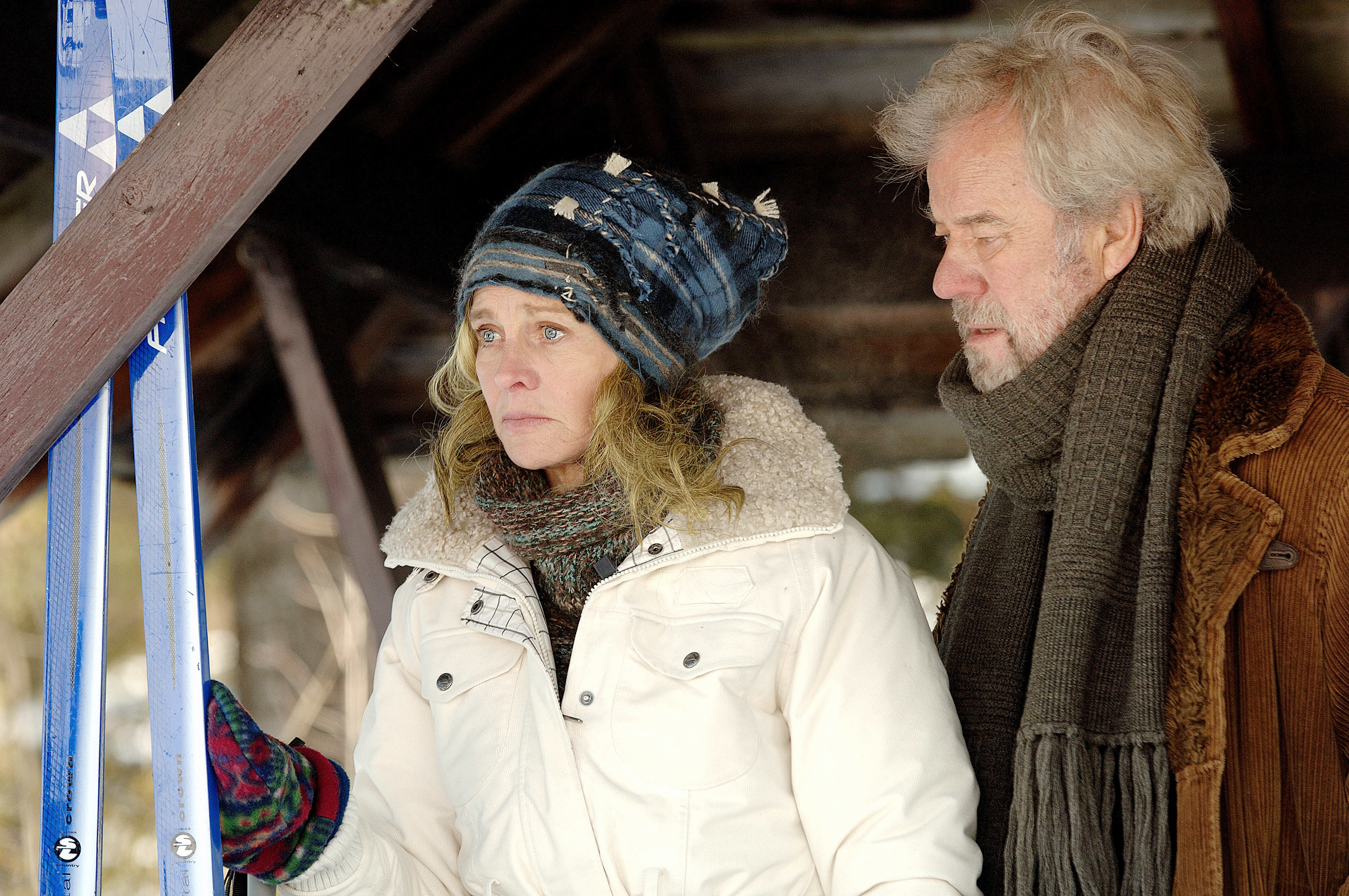 Julie Christie and Gordon Pinsent's characters standing together outside