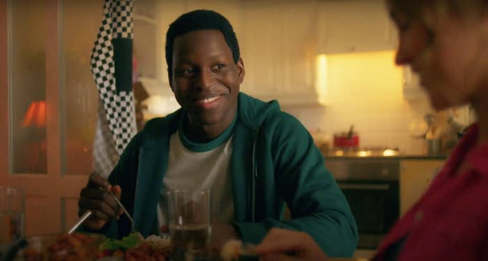 Toheeb Jimoh eating in the kitchen as Anthony Walker
