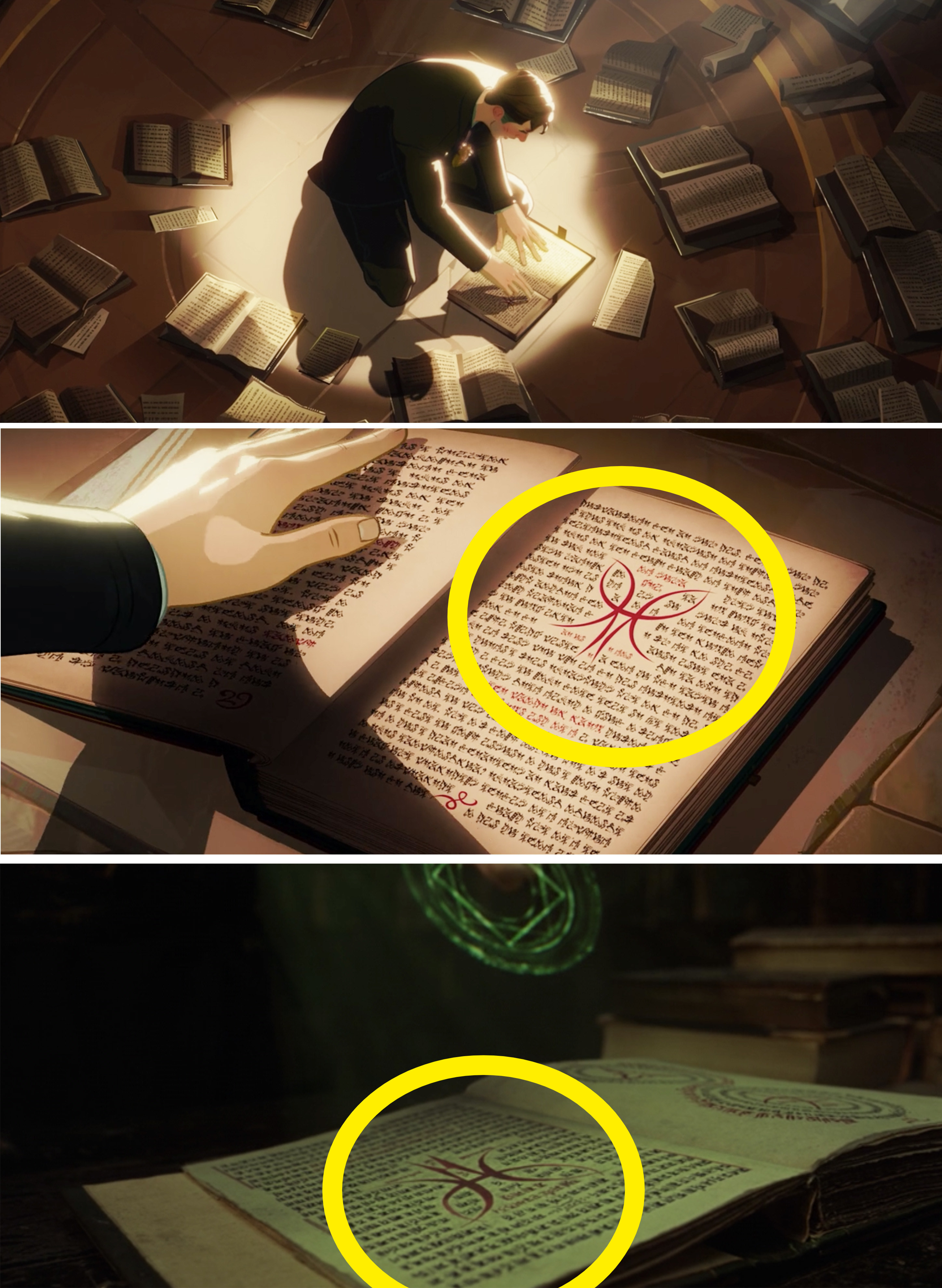 A close-up of Stephen's book with a red symbol in the middle of a page