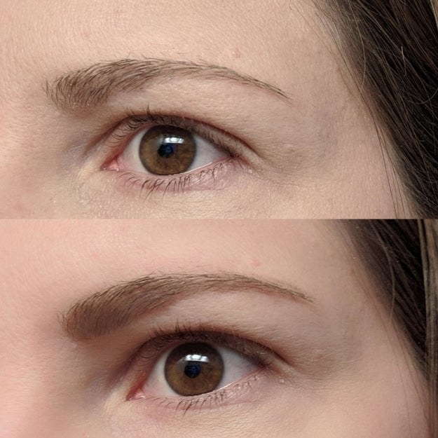 Reviewer showing results of using Maybelline brow pencil