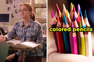 On the left, Cady from /mean Girls sitting in math class, and on the right, someone holding some colored pencils
