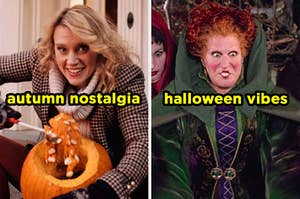 On the left, Kate McKinnon carving a pumpkin in an SNL sketch labeled autumn nostalgia, and on the right, Winnie from Hocus Pocus labeled halloween vibes