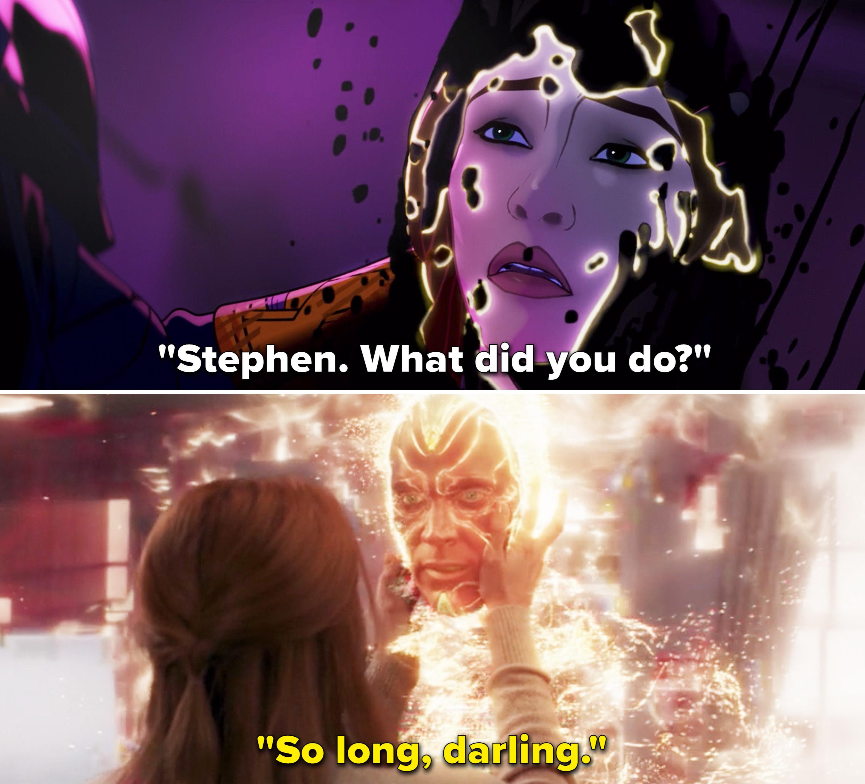 "Christine saying, ""Stephen. What did you do"" vs Vision saying, ""So long, darling"""