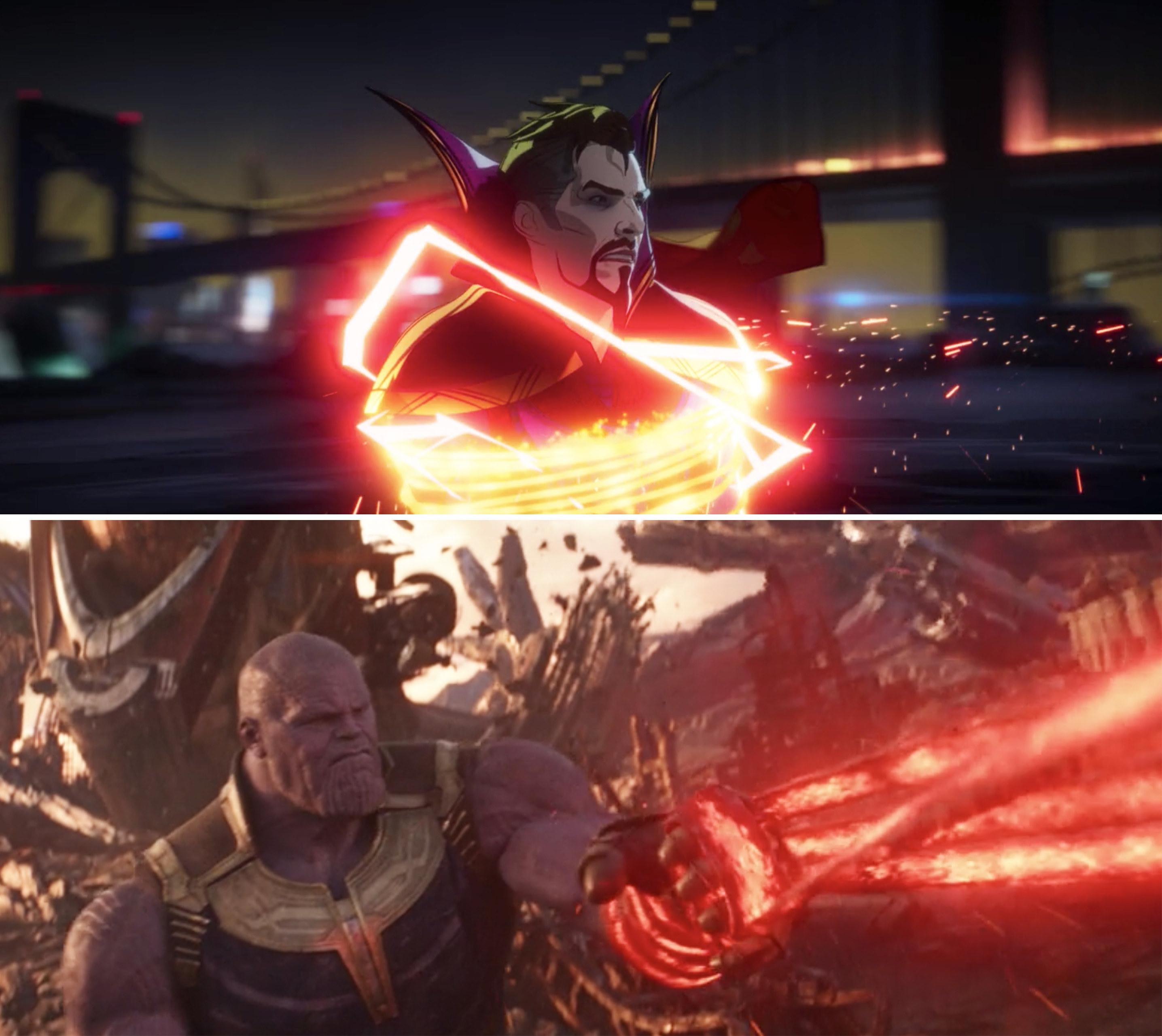 Evil Strange tangled in a magic lasso vs Thanos' gauntlet tangled in one