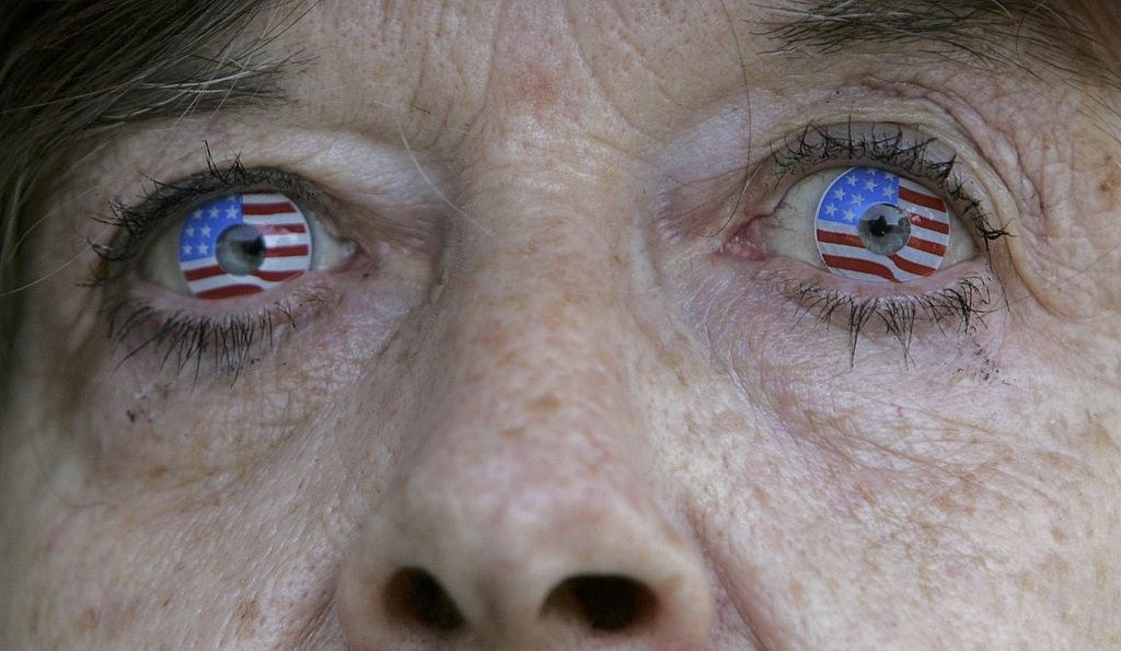The woman with American flag contacts
