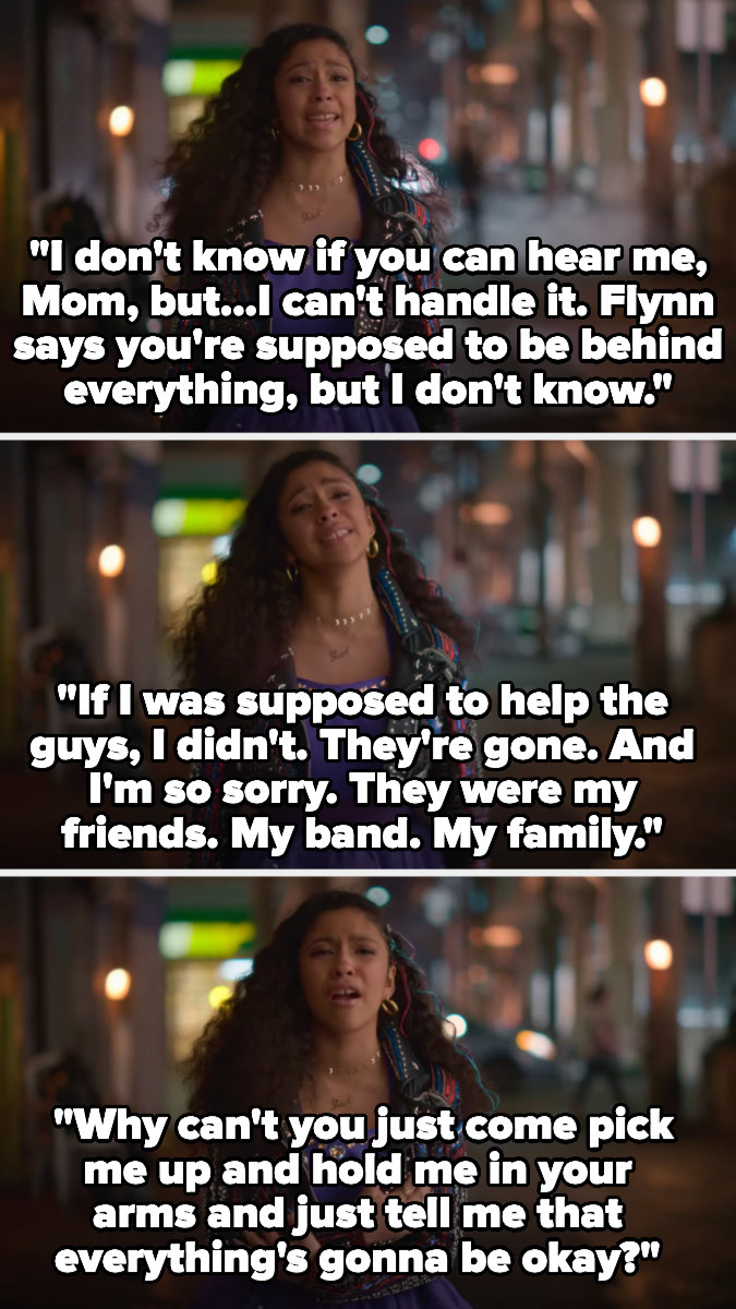 """""""I don't know if you can hear me mom but, I can't handle it....If I was supposed to help the guys, I didn't. They're gone and I'm so sorry. They were my friends. My band. My family...why can't you just come pick me up and hold me in your arms...?"""""""