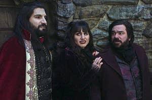 Kayvan Novak as Nandor, Natasia Demetriou as Nadja, and Matt Berry as Laszlo in What We Do in the Shadows