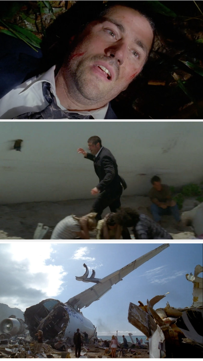 Jack wakes up and discovers the plane wreckage