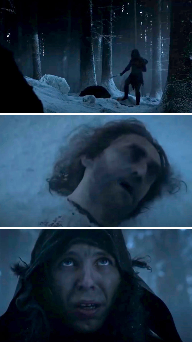 one of the Night's Watch sees some creature throw his friend's head at him and looks up in horror